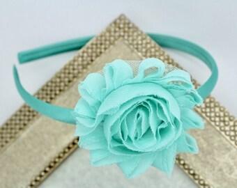 Mint headband, girls mint headband, toddler headbands, mint blue headband, girls headbands, mint hard headband, mint wedding headband