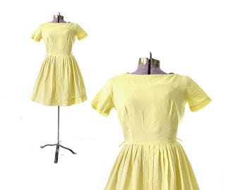 1950s Dress, Yellow 50s Dress, Yellow Dress, Cotton Dress, Summer Dress, Casual Dress, Day Dress, 50s Vintage Clothing, 1950s Vintage DRess