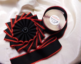 Black & Red Pinwheel Cocarde Vintage Ribbon And Button