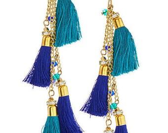 CLEARANCE SALE Turquoise Blue Tassel earrings,fringe earrings-Boho earrings-Bohemian Gypsy jewelry-Coachella earrings  by Taneesi