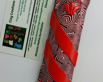 Mezuzah - Red, Black, White Small Spirals w/ Red Bands #281