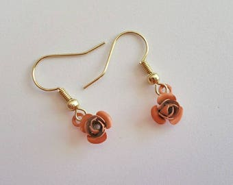Delicate Tiny Rose Dangle Earrings