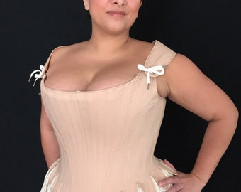 Plus Size Boudoir Corset,Custom Sized,brocade,coutil,satin,Curvy Tabbed Stays w/ Straps,Wedding Bridal,shaping underwear,free fitting mockup