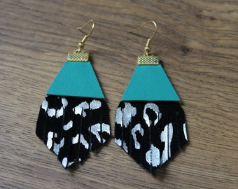 Titan Earrings - Black and Silver Leopard with Seafoam Green