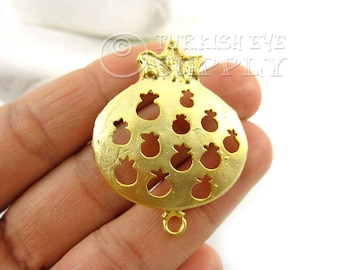 1 pc Pomegranate Connector Charms, Matte 22K Gold Plated Brass Pomegranate Charm, Turkish Jewelry