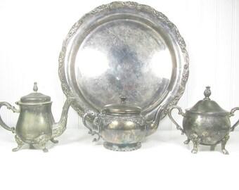 Silver Tea Set, Vintage Teapot ,Creamer, Sugar Bowl, vintage wedding,mismatched serving set,shabby chic decor, antique silver,