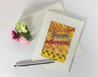 Crazy Quilt Greeting Card, Fiber Art Fabric Greeting Card, Hand Embroidered Greeting Card, Yellow Fabric Card, Handmade Card, Birthday
