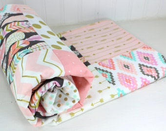 Baby Girl Blanket Nursery Decor Crib Bedding Minky Baby Blanket Baby Shower Gift Coral Blush Pink Mint Gray Gold Feather Arrow Tribal