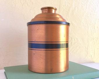 Unique Rumidor Humidor Copper with Black Smokers Rum Drinker Gift Mid-Century Modern Hollywood Regency Metal
