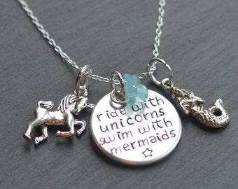 Unicorn Necklace, Mermaid Necklace, Unicorn Jewelry, Gift For Her, Mermaid Jewelry, Unicorns and Mermaids, Little Mermaid, Mermaid Gift