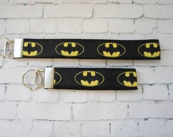 BATEMAN key Fob, Superhero key chain, wristlet keychain, Kids key FOB, Bateman ribbons. Kids, Gift, comic, TV