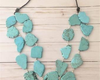 Layered Turquoise Necklace, Long Turquoise Statement Necklace, Chunky Turquoise Necklace, Double Strand Necklace, Large Turquoise Necklace