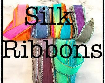 Hand Dyed Silk Ribbon Wrap Bracelets - Design Your Own Charm Bracelet