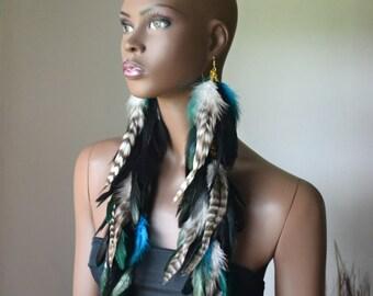 Feather Statement Earrings, Bohemian Jewelry