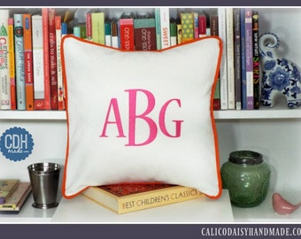 Large Font Monogrammed Pillow Cover - 14 x 14 square