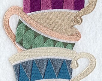 Tea Cup Stack Embroidered Flour Sack Hand/DIsh Towel