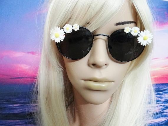 Flower Sunnies Sunglasses Sun Glasses Daisy Hippie Boho Festival Hippies Hippy Flower Power Round Aviators Mermaid Peace