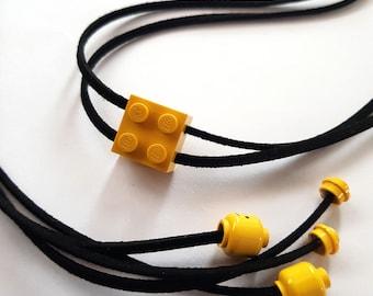 LEGO,Jewelry, Black, Yellow, Tan Leather Wrap Bracelet Choker Necklace Accessory,Funny
