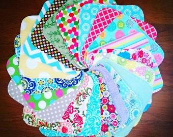 Cloth Wipes Set of 12, 2-Ply Cloth Wipes, Cloth Napkins, Family Cloth, Washcloths, Facial Wipes, Flannel and/or Terry, Durable, Long Lasting