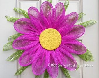 Daisy Wreath, Pink Flower Wreath, Mesh Flower Wreath, Daisy Wreath, Flower Wreath, Daisy Door Wreath, Summer Wreath, Spring Mesh Wreath