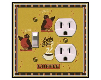 0189X - Early Bird - Cup of Coffee - mrs butler switch plate covers -