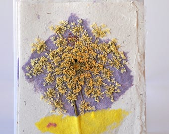 Hand Made Paper Cards-Royal Purple Rectangle with Queen Anne's Lace Flower-Set of 4 cards