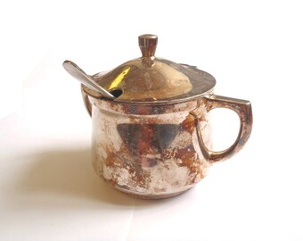 Army Officers Sugar Bowl & Tea Spoon - Vintage/Old - Round - E189