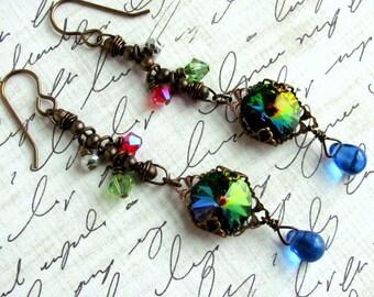 Rhinestone Earrings, Swarovski Earrings, Teardrop Earrings, Statement Earrings, Dangle Earrings, Blue Earrings, Chain Earring, Pink Earrings