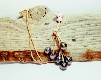 V 6 genuine Tahitian pearls necklace