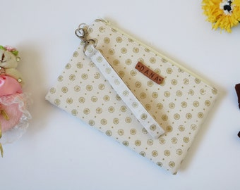 Mother's Day Gift Bridesmaid Gift, Bridesmaid Wristlet, Personalized Bridesmaid Clutch, Zipper Pouch, Bridal Party, Gold Makeup Bags