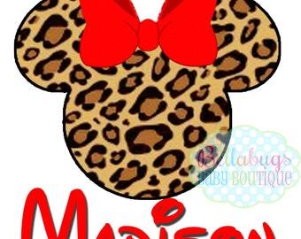 Cheetah Minnie Safari IRON ON TRANSFER - Tshirt - Bodysuit - Tote Bags - Personalized - Disney