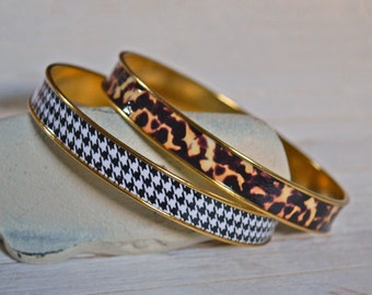 Women's Preppy Bangle Bracelet - Houndstooth & Tortoiseshell