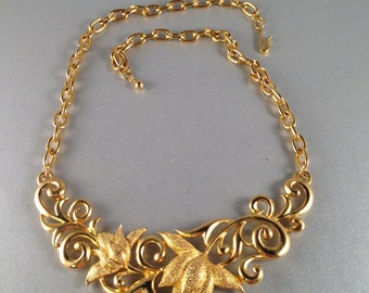 Vintage Gold Flowers Adjustable Choker Necklace Adjustable Up to 18 Inches Long 1 Inch Wide Previously Twenty Dollars ON SALE