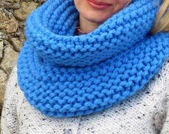 Blue scarf merino scarf womens scarf merino wool scarf handknit scarf chunky scarf wool infinity scarf women chunky knit scarf