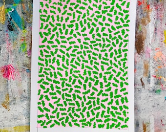 Geometric Abstract Painting, 10 x 7, Pink and Green NY1834