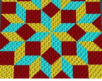 Graphgan Pattern - Corner to Corner - C2C Crochet - Tri-Color Burst Yellow Maroon Aqua Carpenter Wheel Blanket Afghan Crochet Graphgan Chart