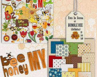 Digital kit BUMBLE BEE, bee, papers, embelishments, honey