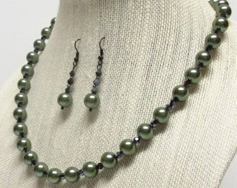 20 inch Sage Glass Pearl Necklace Set #18302 sage green glass pearl necklace
