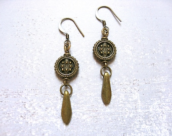 Warrior Drum earrings - antiqued gold plated brass hooks, textured 3D textured round focal beads, dagger charms, ethnic, tribal, boho chic
