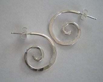 Handmade Sterling Silver Spiral Post Earrings