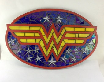 Wonder Woman Stained Glass Mosaic Plaque - Made to Order