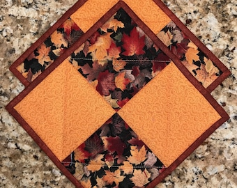 Fall pot holders, Quilted hot pads, cloth trivets, potholders,  Quiltsy handmade, Item #281
