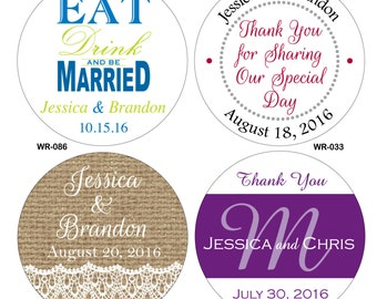 400 - 2 inch Custom Glossy Waterproof Wedding Stickers Labels - hundreds of designs to choose from - change designs to any color or wording
