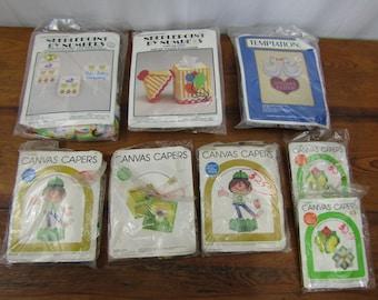 Lot of 9 vintage unopened plastic canvas kits