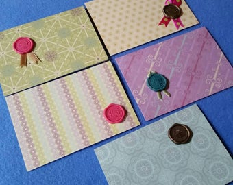 Five Patterned Mini Cards Gift Tags with rhinestone seal accents, birds crowns fleur-de-lis
