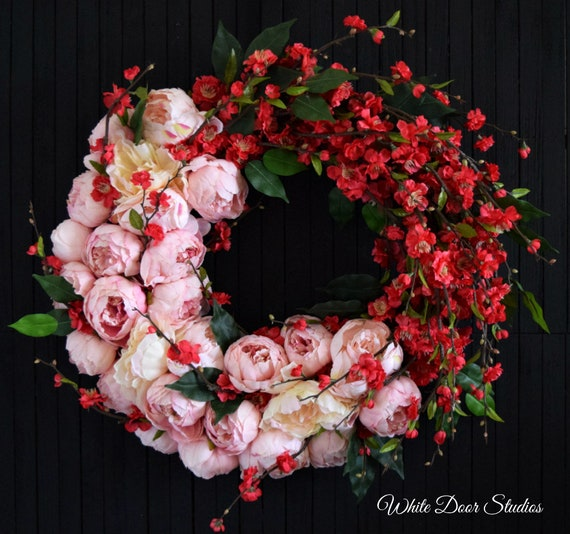 Ready to Ship Peony and Cherry Blossom Spring and Summer Front Door Wreath