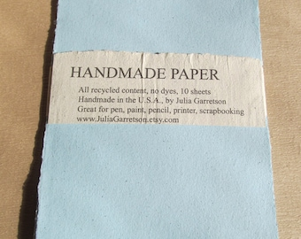 Blue Handmade Paper- made from eco friendly recycled Newsletters-Recycled Handmade Paper