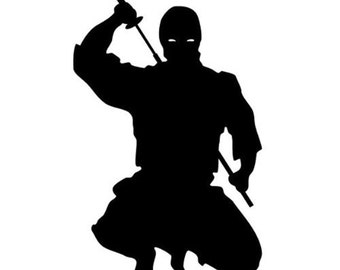 crouching Ninja With Sword vinyl decal/sticke