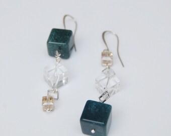 Irregular earrings - cube earrings - asymmetric earrings - modern earrings - long dangle earrings - unique earrings - statement earrings