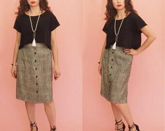 90s Pencil Skirt // High Waist Skirt // Speckled Skirt // Tweed Skirt // Midi Skirt // Vintage